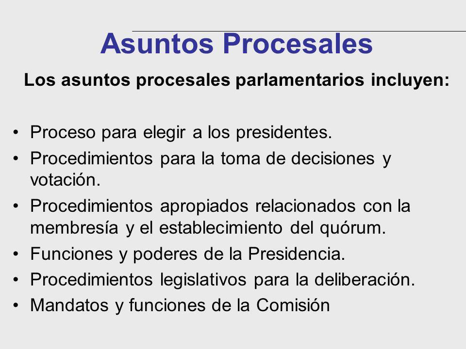 Asuntos Procesales Los asuntos procesales parlamentarios incluyen: Proceso para elegir a los presidentes. Procedimientos para la toma de decisiones y