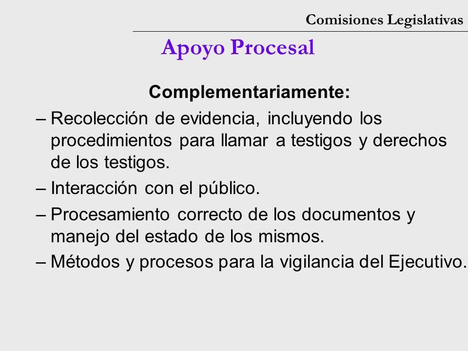 Comisiones Legislativas Apoyo Procesal Complementariamente: –Recolección de evidencia, incluyendo los procedimientos para llamar a testigos y derechos