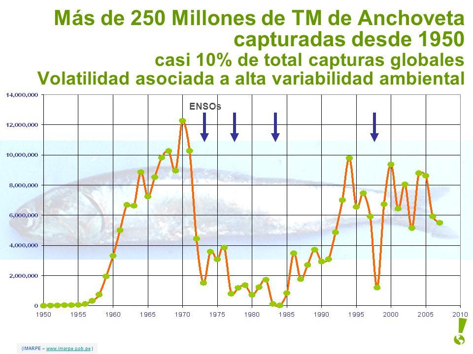 Más de 250 Millones de TM de Anchoveta capturadas desde 1950 casi 10% de total capturas globales Volatilidad asociada a alta variabilidad ambiental (I