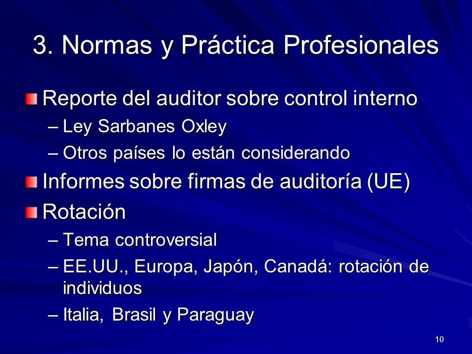 10 3. Normas y Práctica Profesionales Reporte del auditor sobre control interno –Ley Sarbanes Oxley –Otros países lo están considerando Informes sobre
