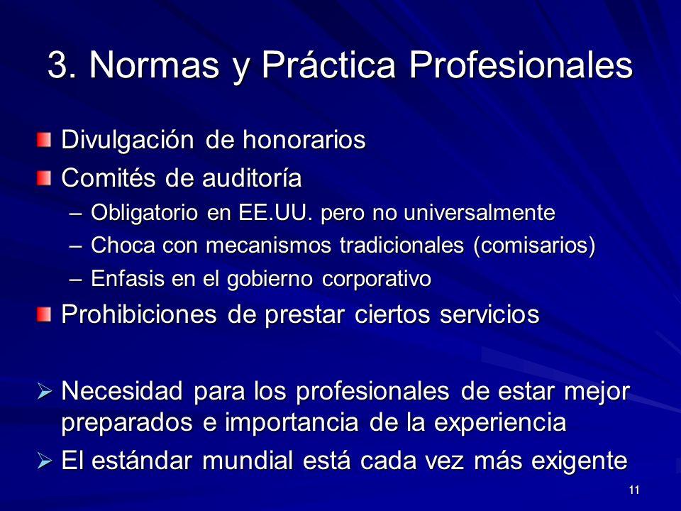 11 3. Normas y Práctica Profesionales Divulgación de honorarios Comités de auditoría –Obligatorio en EE.UU. pero no universalmente –Choca con mecanism
