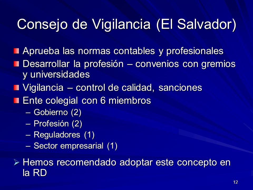 12 Consejo de Vigilancia (El Salvador) Aprueba las normas contables y profesionales Desarrollar la profesión – convenios con gremios y universidades Vigilancia – control de calidad, sanciones Ente colegial con 6 miembros –Gobierno (2) –Profesión (2) –Reguladores (1) –Sector empresarial (1) Hemos recomendado adoptar este concepto en la RD Hemos recomendado adoptar este concepto en la RD