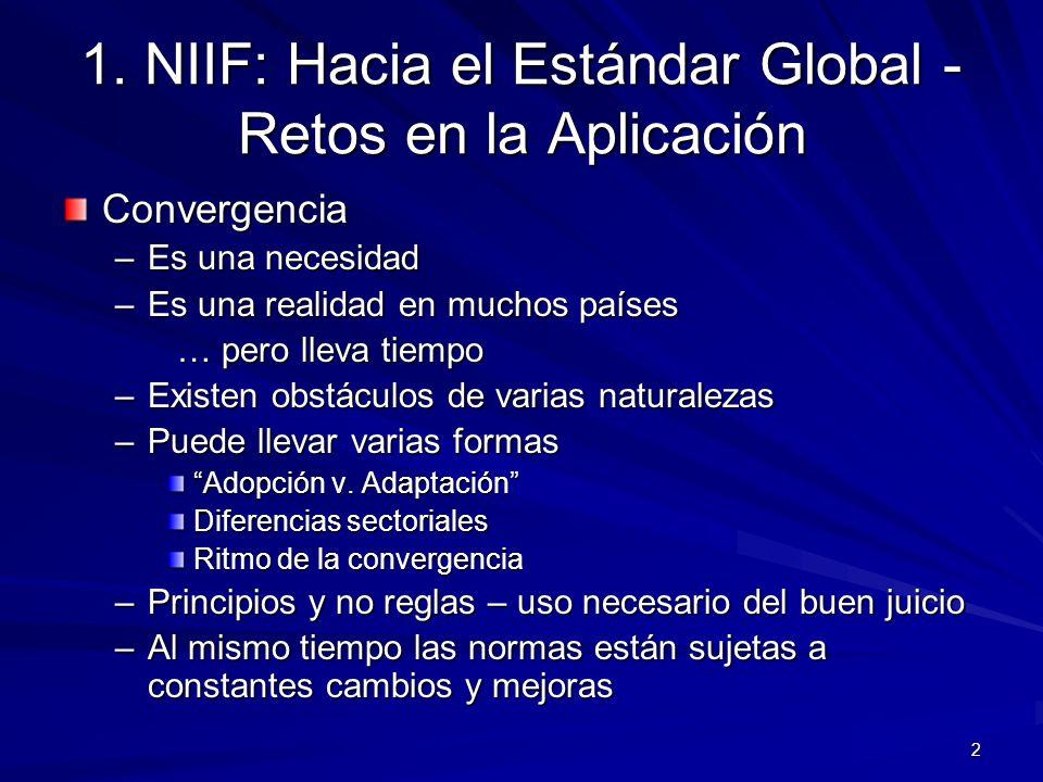 2 1. NIIF: Hacia el Estándar Global - Retos en la Aplicación Convergencia –Es una necesidad –Es una realidad en muchos países … pero lleva tiempo … pe