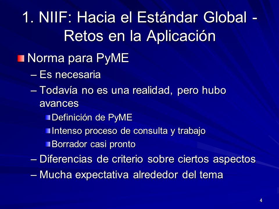 4 1. NIIF: Hacia el Estándar Global - Retos en la Aplicación Norma para PyME –Es necesaria –Todavía no es una realidad, pero hubo avances Definición d