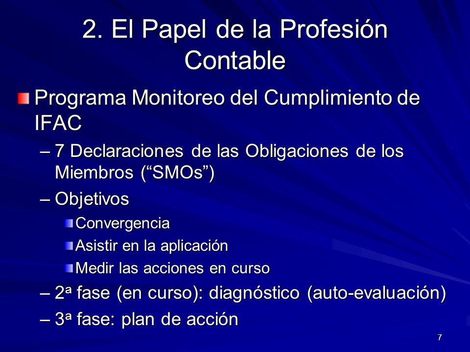 7 2. El Papel de la Profesión Contable Programa Monitoreo del Cumplimiento de IFAC –7 Declaraciones de las Obligaciones de los Miembros (SMOs) –Objeti
