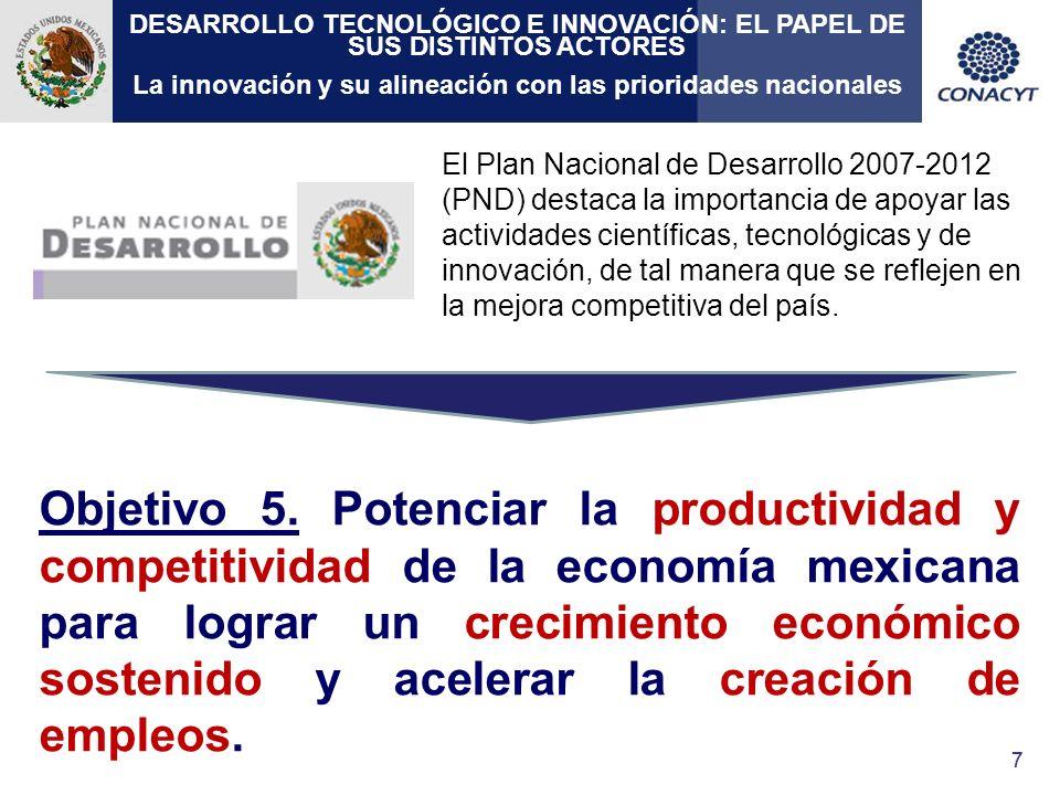 88 Estrategia 5.5 Profundizar y facilitar los procesos de investigación científica, adopción e innovación tecnológica para incrementar la productividad de la economía nacional.