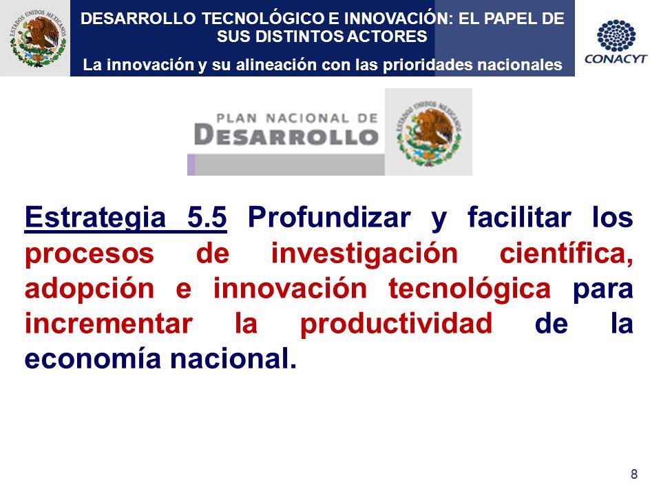 99 Objetivo de la actual administración Hacer de la ciencia, la tecnología y la innovación ejes fundamentales de desarrollo del país