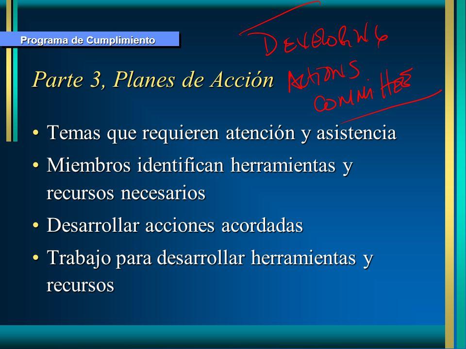 Parte 3, Planes de Acción Temas que requieren atención y asistenciaTemas que requieren atención y asistencia Miembros identifican herramientas y recur