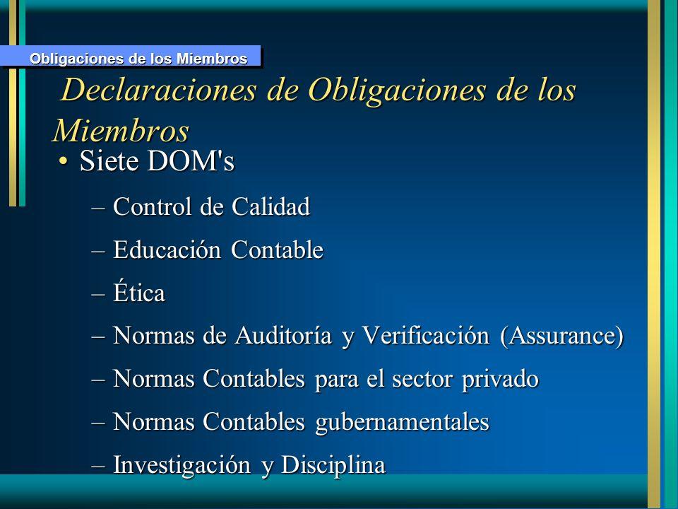 Declaraciones de Obligaciones de los Miembros Declaraciones de Obligaciones de los Miembros Siete DOM'sSiete DOM's –Control de Calidad –Educación Cont