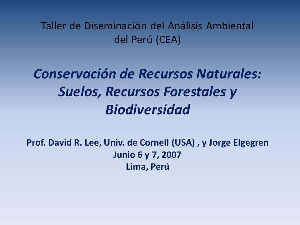 Taller de Diseminación del Análisis Ambiental del Perú (CEA) Conservación de Recursos Naturales: Suelos, Recursos Forestales y Biodiversidad Prof.