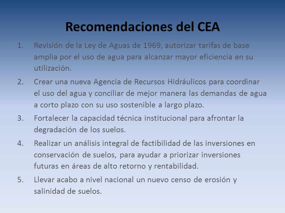 Recomendaciones del CEA 1.Revisión de la Ley de Aguas de 1969, autorizar tarifas de base amplia por el uso de agua para alcanzar mayor eficiencia en su utilización.