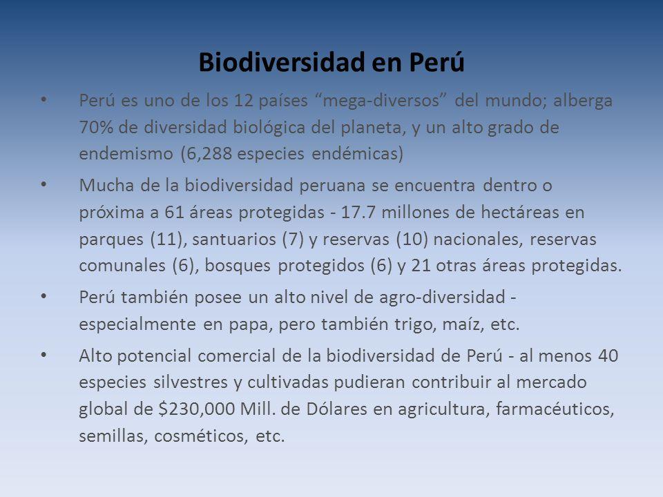 Biodiversidad en Perú Perú es uno de los 12 países mega-diversos del mundo; alberga 70% de diversidad biológica del planeta, y un alto grado de endemismo (6,288 especies endémicas) Mucha de la biodiversidad peruana se encuentra dentro o próxima a 61 áreas protegidas - 17.7 millones de hectáreas en parques (11), santuarios (7) y reservas (10) nacionales, reservas comunales (6), bosques protegidos (6) y 21 otras áreas protegidas.