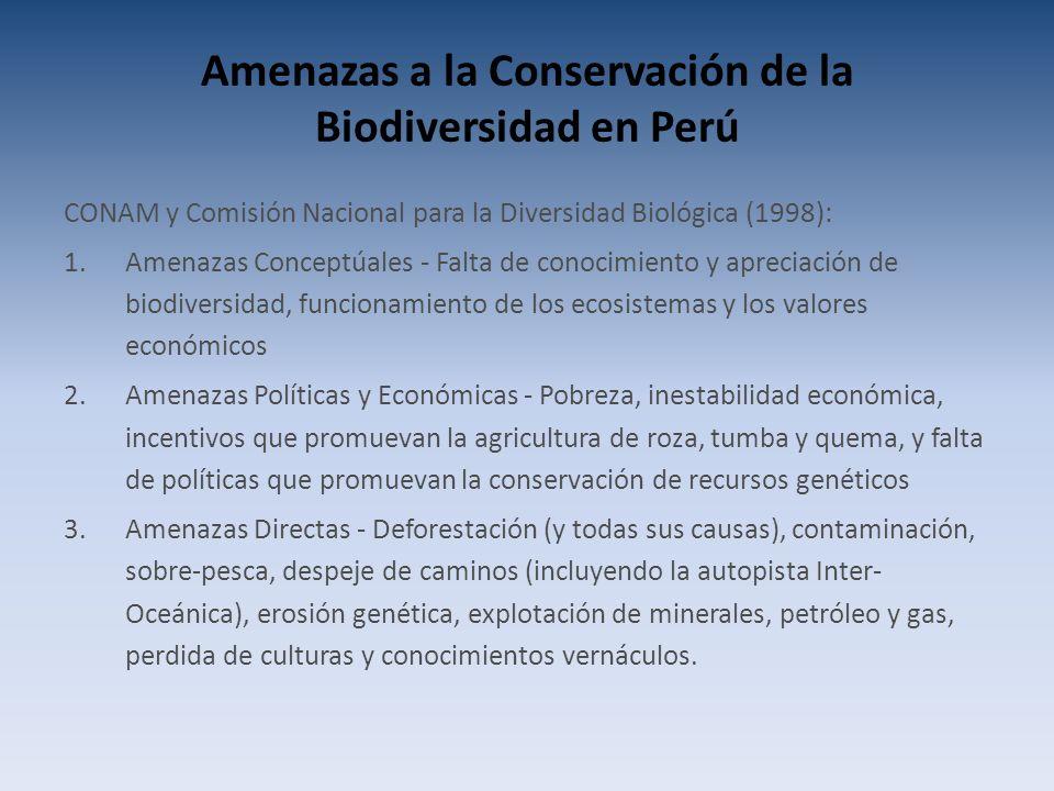 Amenazas a la Conservación de la Biodiversidad en Perú CONAM y Comisión Nacional para la Diversidad Biológica (1998): 1.Amenazas Conceptúales - Falta de conocimiento y apreciación de biodiversidad, funcionamiento de los ecosistemas y los valores económicos 2.Amenazas Políticas y Económicas - Pobreza, inestabilidad económica, incentivos que promuevan la agricultura de roza, tumba y quema, y falta de políticas que promuevan la conservación de recursos genéticos 3.Amenazas Directas - Deforestación (y todas sus causas), contaminación, sobre-pesca, despeje de caminos (incluyendo la autopista Inter- Oceánica), erosión genética, explotación de minerales, petróleo y gas, perdida de culturas y conocimientos vernáculos.