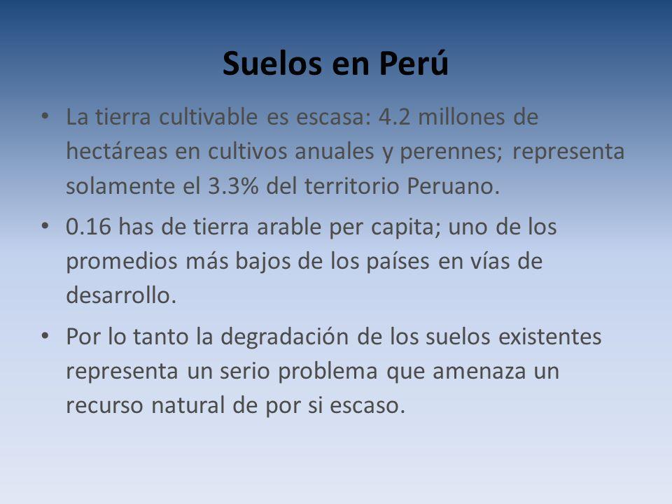 Suelos en Perú La tierra cultivable es escasa: 4.2 millones de hectáreas en cultivos anuales y perennes; representa solamente el 3.3% del territorio Peruano.
