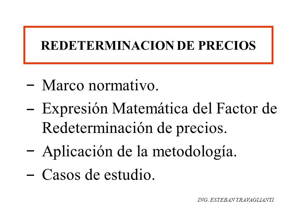 REDETERMINACION DE PRECIOS Marco normativo. Expresión Matemática del Factor de Redeterminación de precios. Aplicación de la metodología. Casos de estu