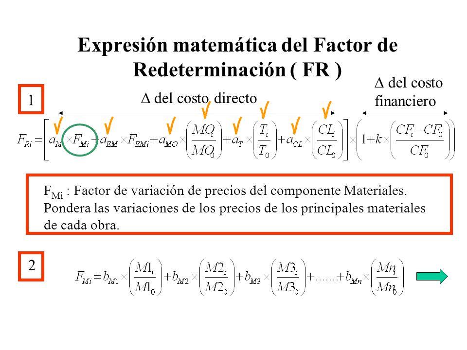Expresión matemática del Factor de Redeterminación ( FR ) 1 del costo directo del costo financiero F Mi : Factor de variación de precios del component