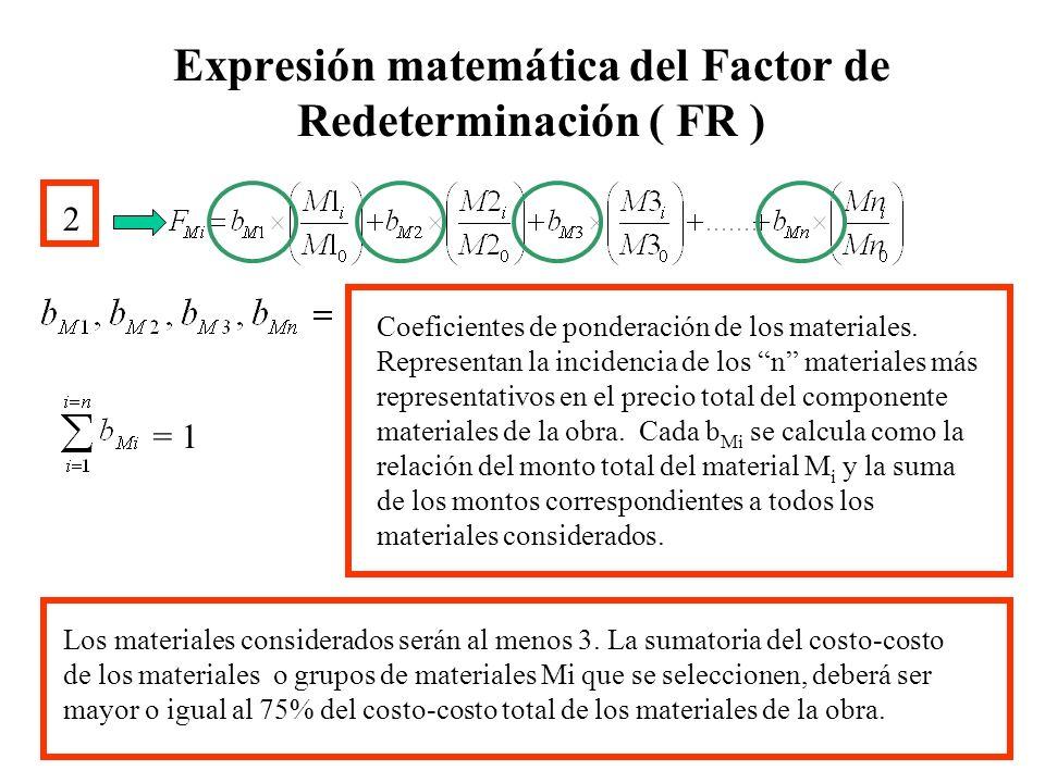Expresión matemática del Factor de Redeterminación ( FR ) 2 Los materiales considerados serán al menos 3. La sumatoria del costo-costo de los material