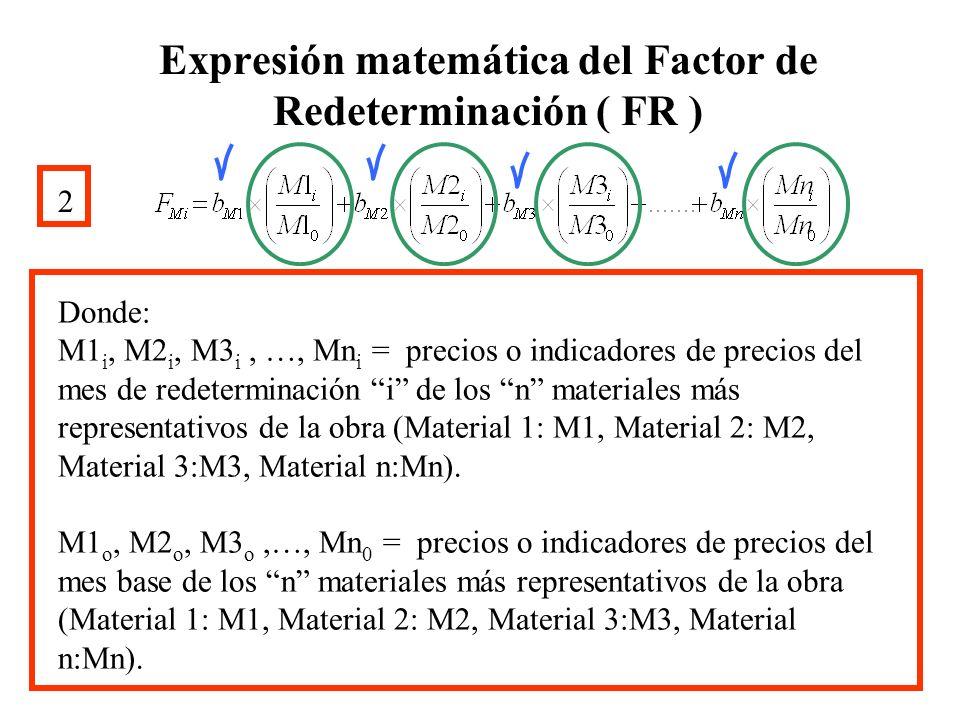 Expresión matemática del Factor de Redeterminación ( FR ) 2 Donde: M1 i, M2 i, M3 i, …, Mn i = precios o indicadores de precios del mes de redetermina