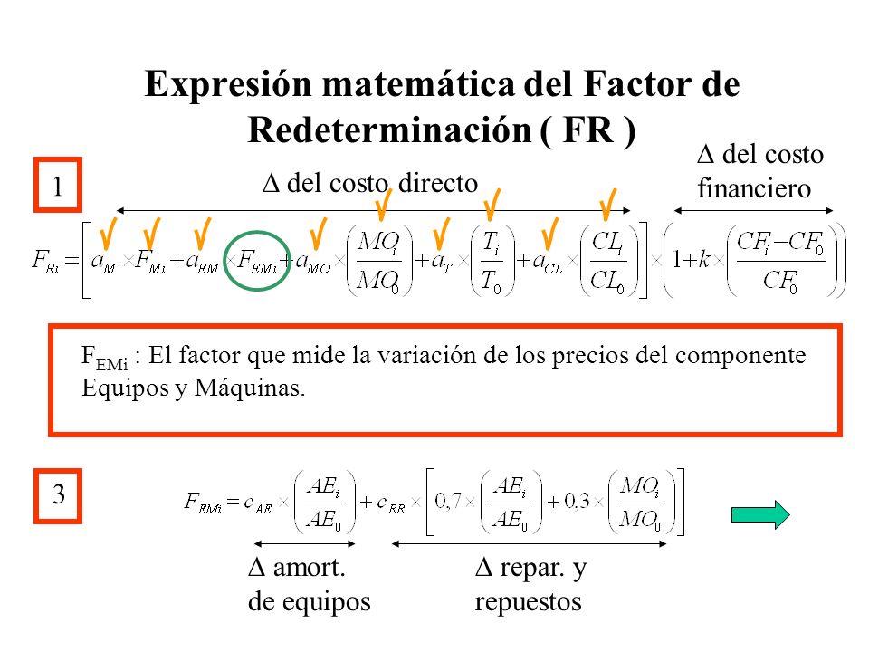 Expresión matemática del Factor de Redeterminación ( FR ) 1 del costo directo del costo financiero F EMi : El factor que mide la variación de los prec