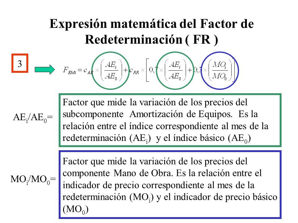Expresión matemática del Factor de Redeterminación ( FR ) 3 Factor que mide la variación de los precios del componente Mano de Obra. Es la relación en