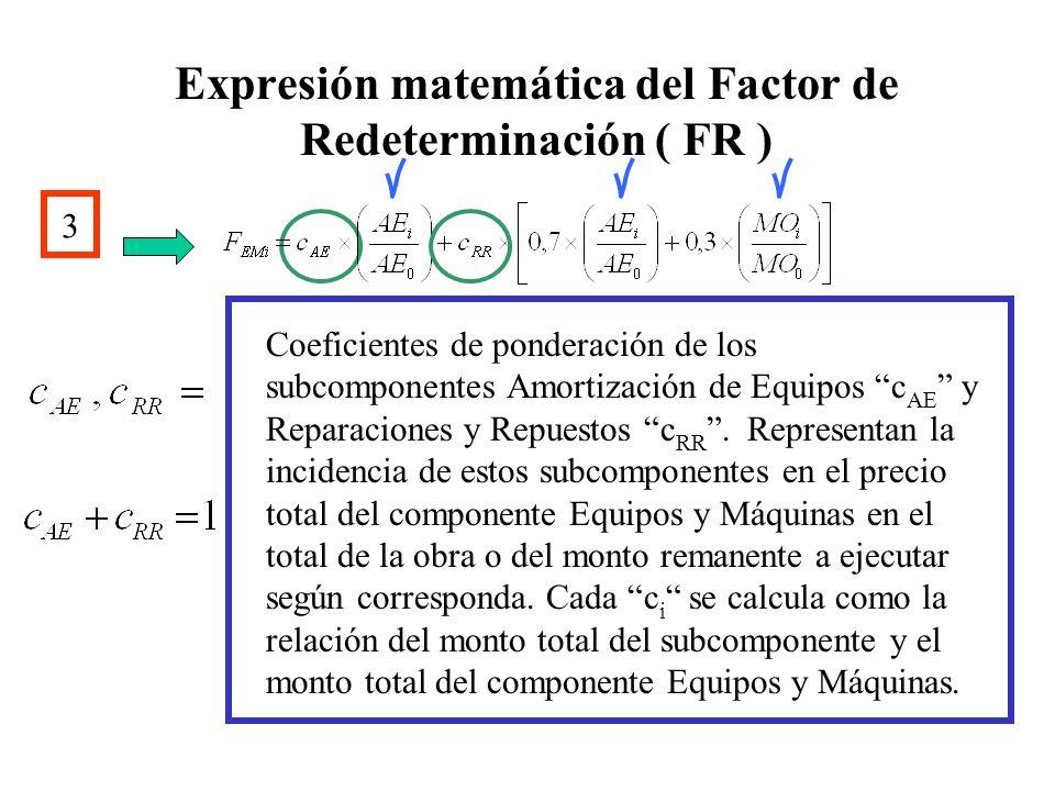 Expresión matemática del Factor de Redeterminación ( FR ) 3 Coeficientes de ponderación de los subcomponentes Amortización de Equipos c AE y Reparacio