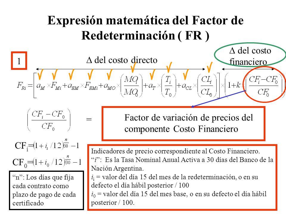 Expresión matemática del Factor de Redeterminación ( FR ) 1 del costo directo del costo financiero Factor de variación de precios del componente Costo