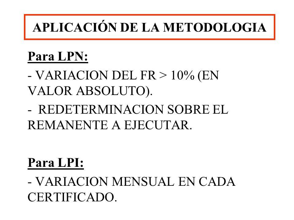 APLICACIÓN DE LA METODOLOGIA Para LPN: - VARIACION DEL FR > 10% (EN VALOR ABSOLUTO). - REDETERMINACION SOBRE EL REMANENTE A EJECUTAR. Para LPI: - VARI