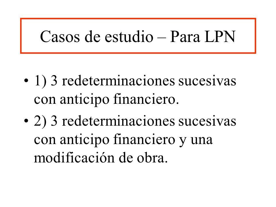 Casos de estudio – Para LPN 1) 3 redeterminaciones sucesivas con anticipo financiero. 2) 3 redeterminaciones sucesivas con anticipo financiero y una m