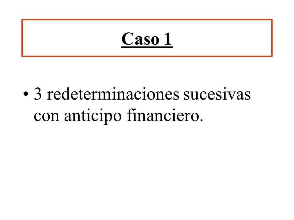 Caso 1 3 redeterminaciones sucesivas con anticipo financiero.