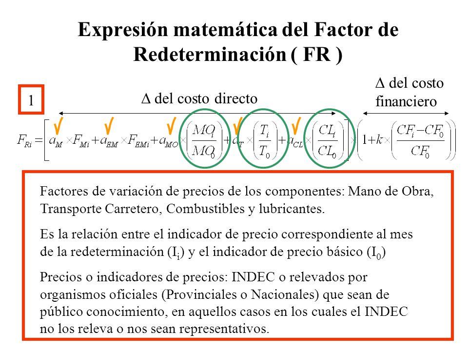Expresión matemática del Factor de Redeterminación ( FR ) 1 del costo directo del costo financiero Factor de variación de precios del componente Costo Financiero = CF i = Indicadores de precio correspondiente al Costo Financiero.