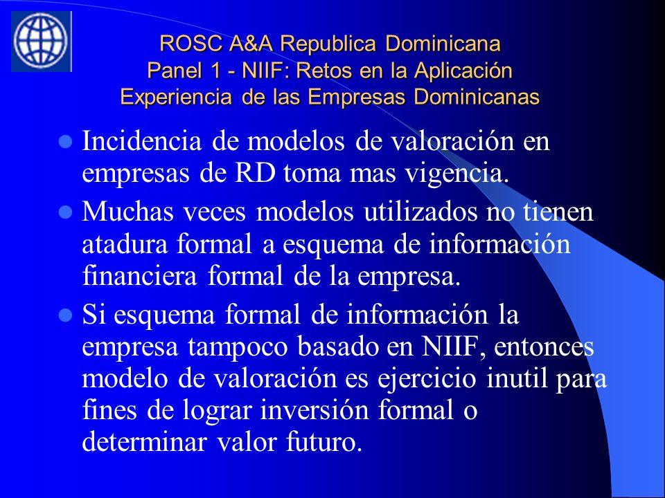 ROSC A&A Republica Dominicana Panel 1 - NIIF: Retos en la Aplicación Experiencia de las Empresas Dominicanas Incidencia de modelos de valoración en empresas de RD toma mas vigencia.