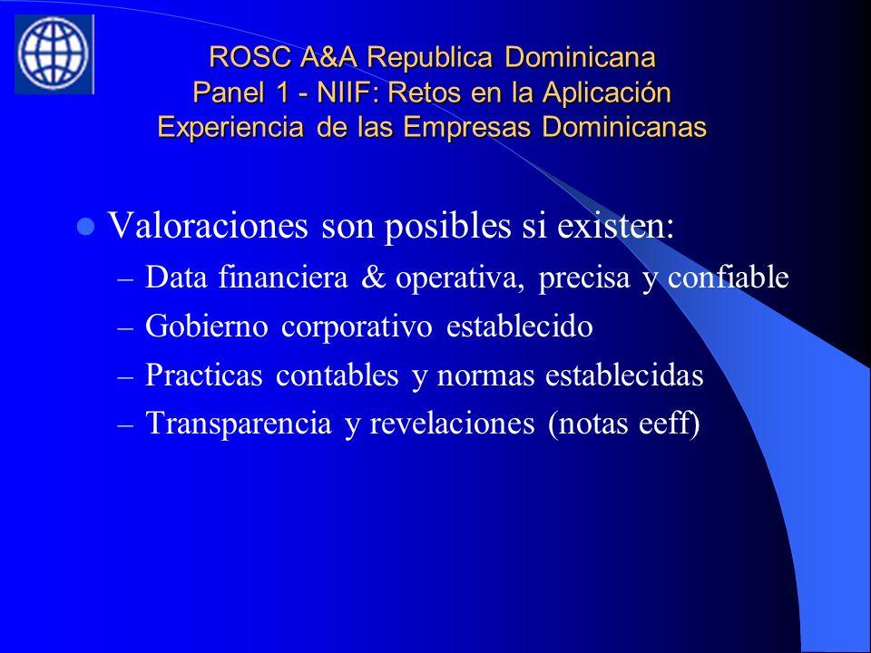 ROSC A&A Republica Dominicana Panel 1 - NIIF: Retos en la Aplicación Experiencia de las Empresas Dominicanas Valoraciones son posibles si existen: – Data financiera & operativa, precisa y confiable – Gobierno corporativo establecido – Practicas contables y normas establecidas – Transparencia y revelaciones (notas eeff)