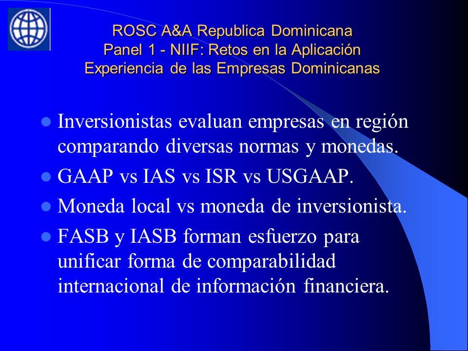 ROSC A&A Republica Dominicana Panel 1 - NIIF: Retos en la Aplicación Experiencia de las Empresas Dominicanas Inversionistas evaluan empresas en región comparando diversas normas y monedas.