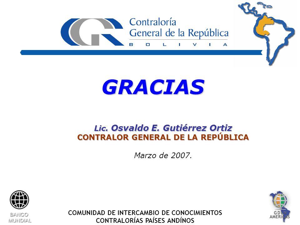 COMUNIDAD DE INTERCAMBIO DE CONOCIMIENTOS CONTRALORÍAS PAÍSES ANDÍNOS GRACIASGRACIAS Lic.
