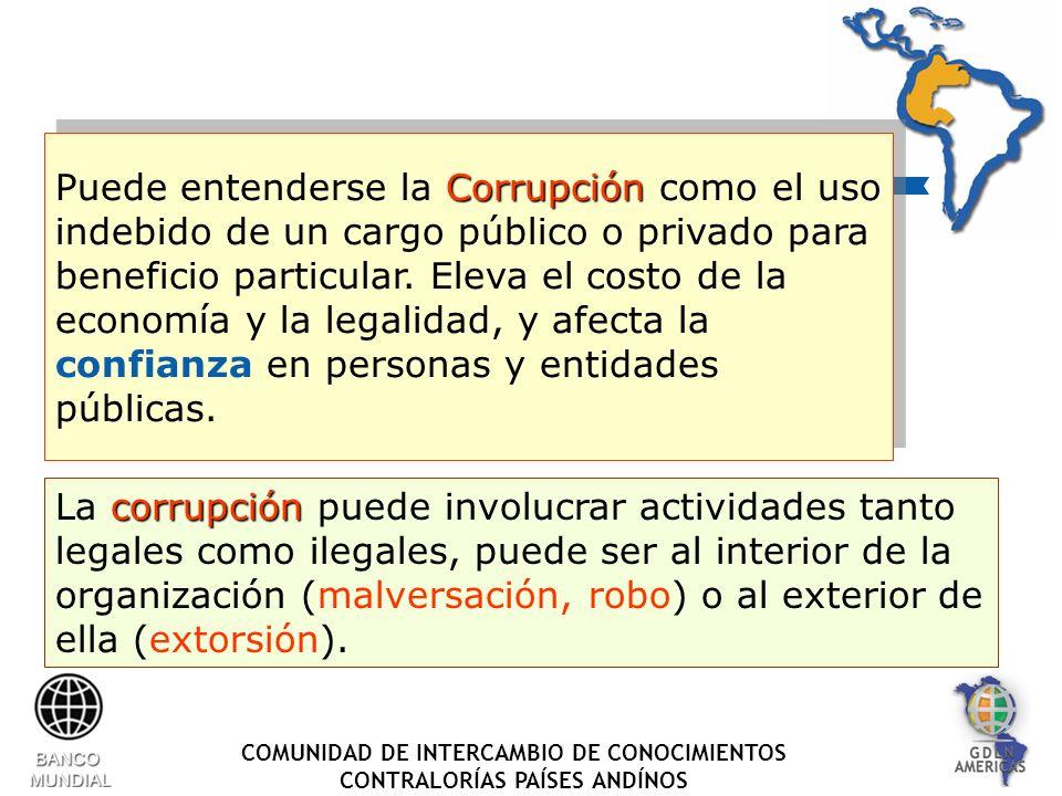 COMUNIDAD DE INTERCAMBIO DE CONOCIMIENTOS CONTRALORÍAS PAÍSES ANDÍNOS Corrupción Puede entenderse la Corrupción como el uso indebido de un cargo público o privado para beneficio particular.