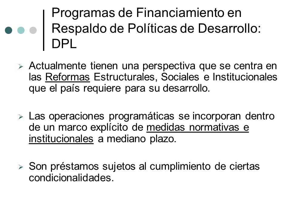 Programas de Financiamiento en Respaldo de Políticas de Desarrollo: DPL Actualmente tienen una perspectiva que se centra en las Reformas Estructurales, Sociales e Institucionales que el país requiere para su desarrollo.