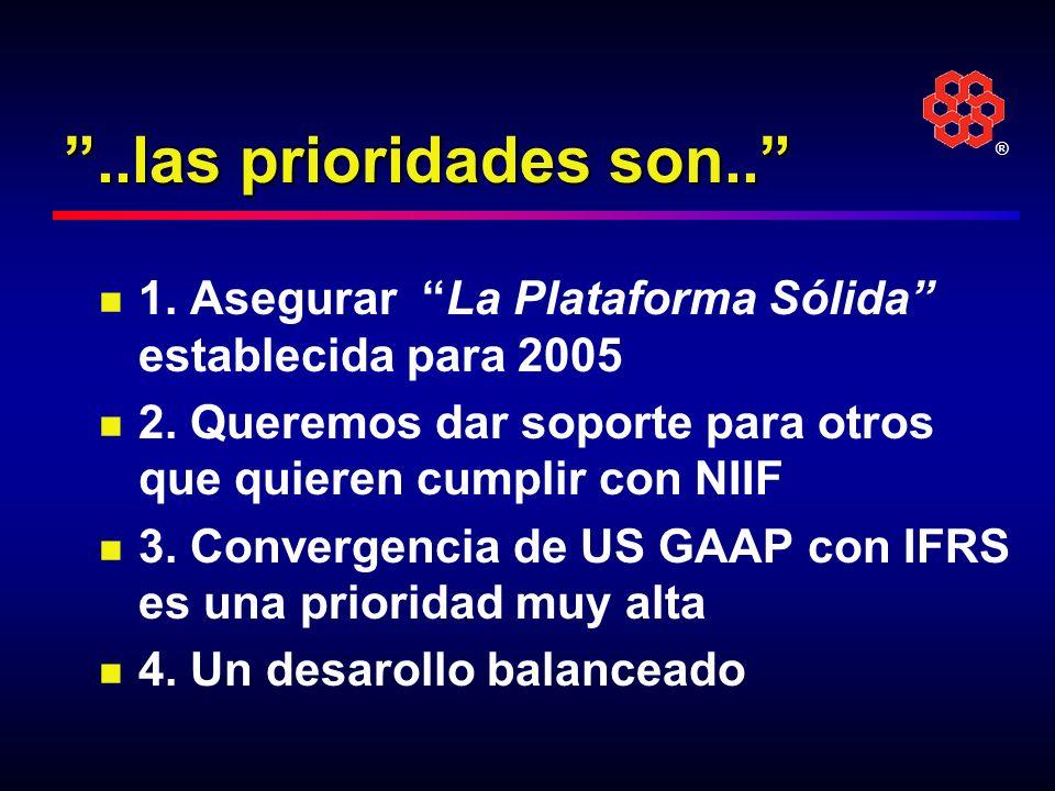 ®..las prioridades son.. 1. Asegurar La Plataforma Sólida establecida para 2005 2. Queremos dar soporte para otros que quieren cumplir con NIIF 3. Con