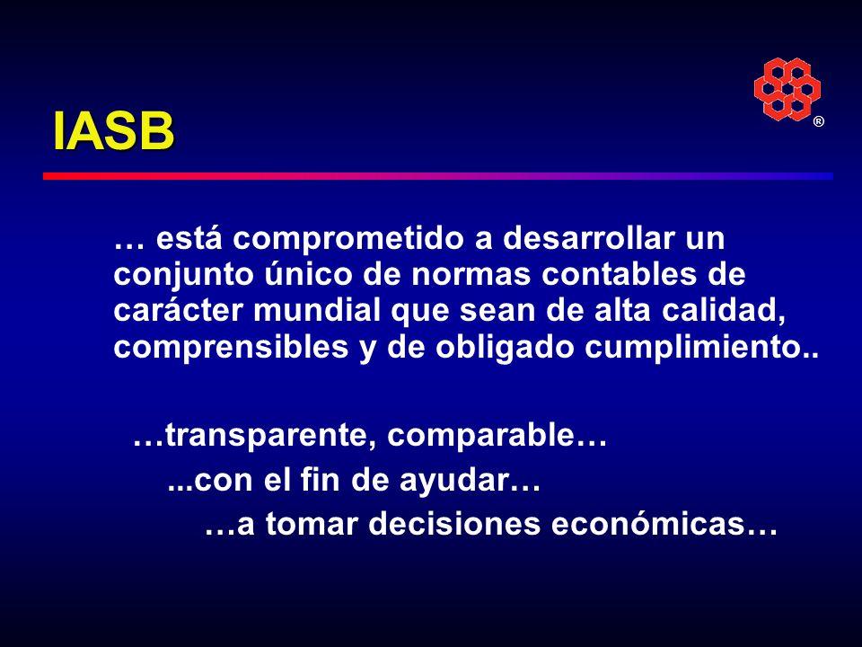 ® IASB … está comprometido a desarrollar un conjunto único de normas contables de carácter mundial que sean de alta calidad, comprensibles y de obliga
