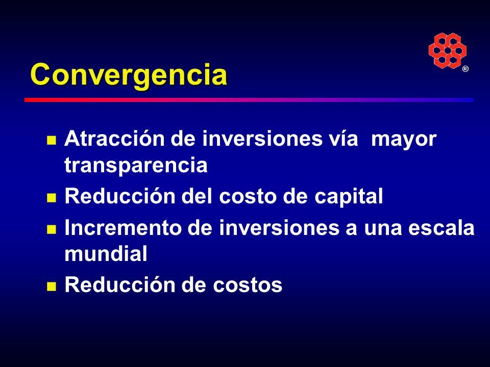 ® Convergencia Atracción de inversiones vía mayor transparencia Reducción del costo de capital Incremento de inversiones a una escala mundial Reducció