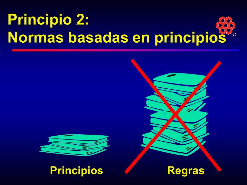 ® Normas basadas en principios Establecemos normas basadas en principios, en vez de reglas.