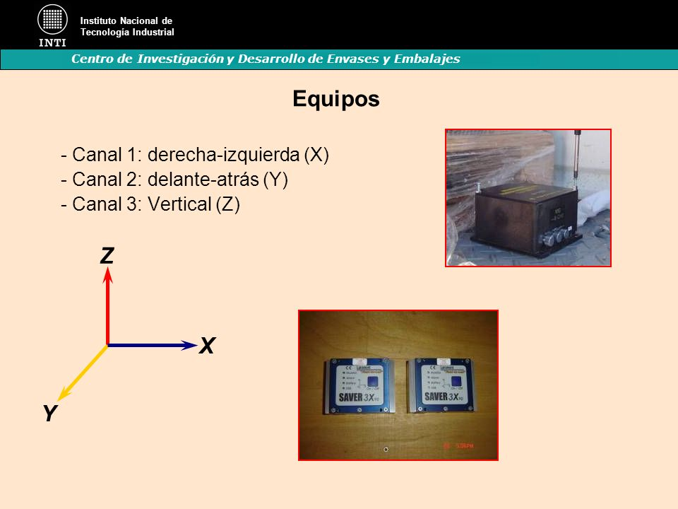 Instituto Nacional de Tecnología Industrial Centro de Investigación y Desarrollo de Envases y Embalajes Equipos - Canal 1: derecha-izquierda (X) - Can