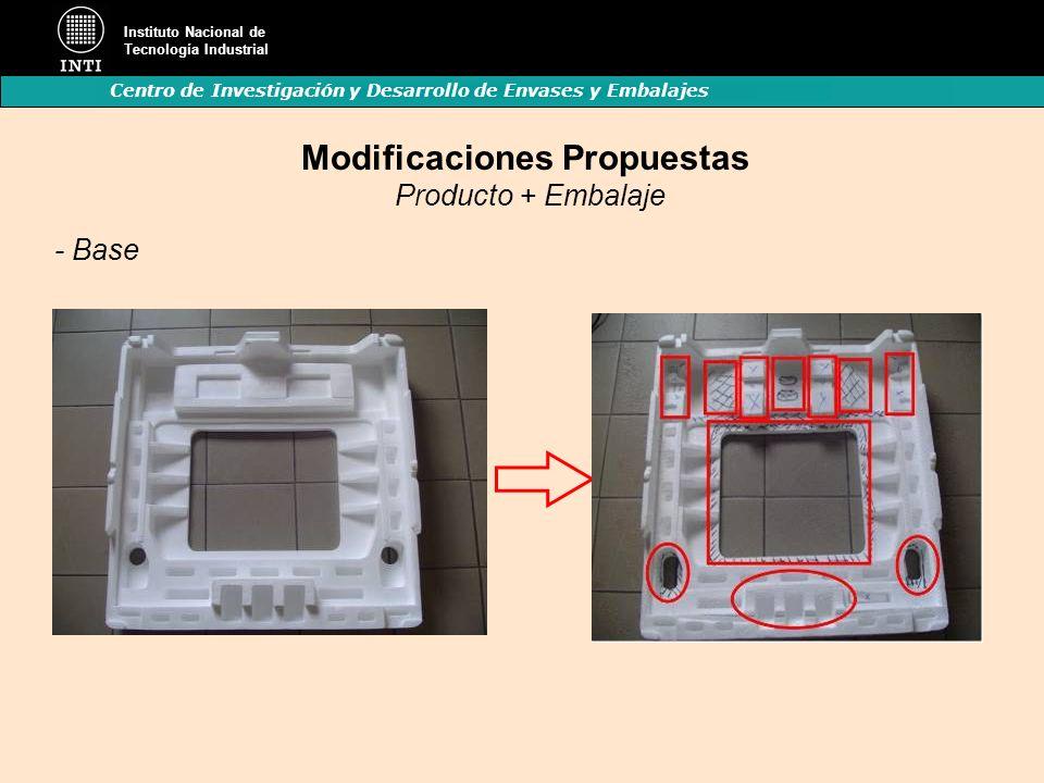 Instituto Nacional de Tecnología Industrial Centro de Investigación y Desarrollo de Envases y Embalajes Modificaciones Propuestas Producto + Embalaje