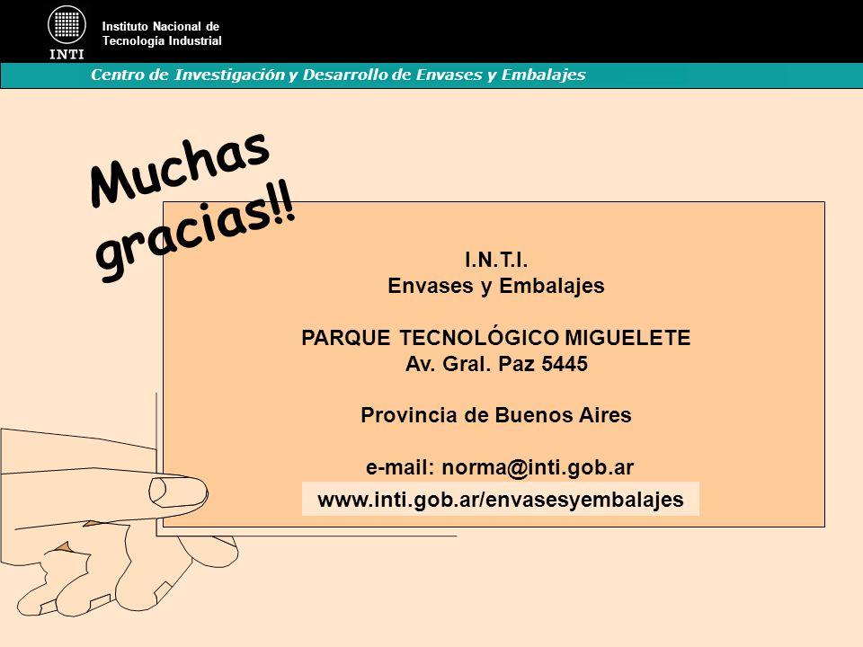 Instituto Nacional de Tecnología Industrial Centro de Investigación y Desarrollo de Envases y Embalajes I.N.T.I. Envases y Embalajes PARQUE TECNOLÓGIC