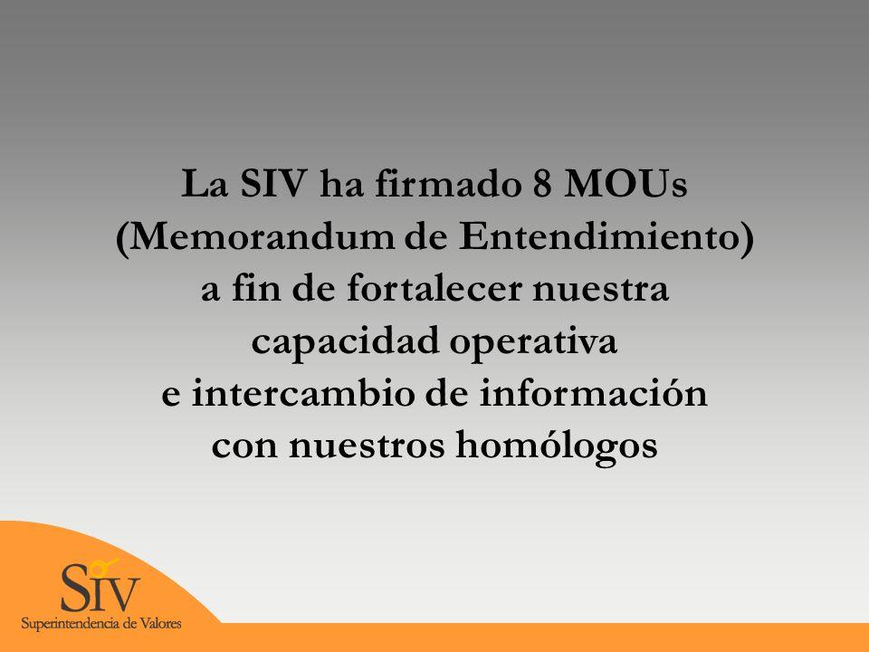 La SIV ha firmado 8 MOUs (Memorandum de Entendimiento) a fin de fortalecer nuestra capacidad operativa e intercambio de información con nuestros homólogos