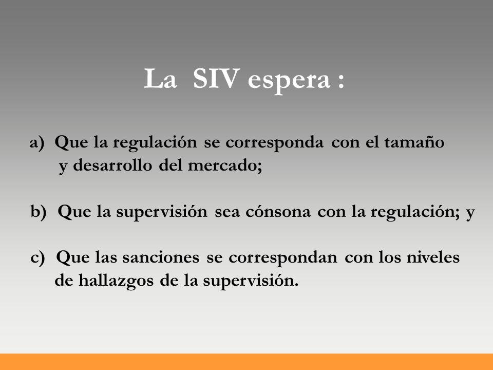 La SIV espera : a) Que la regulación se corresponda con el tamaño y desarrollo del mercado; b) Que la supervisión sea cónsona con la regulación; y c) Que las sanciones se correspondan con los niveles de hallazgos de la supervisión.