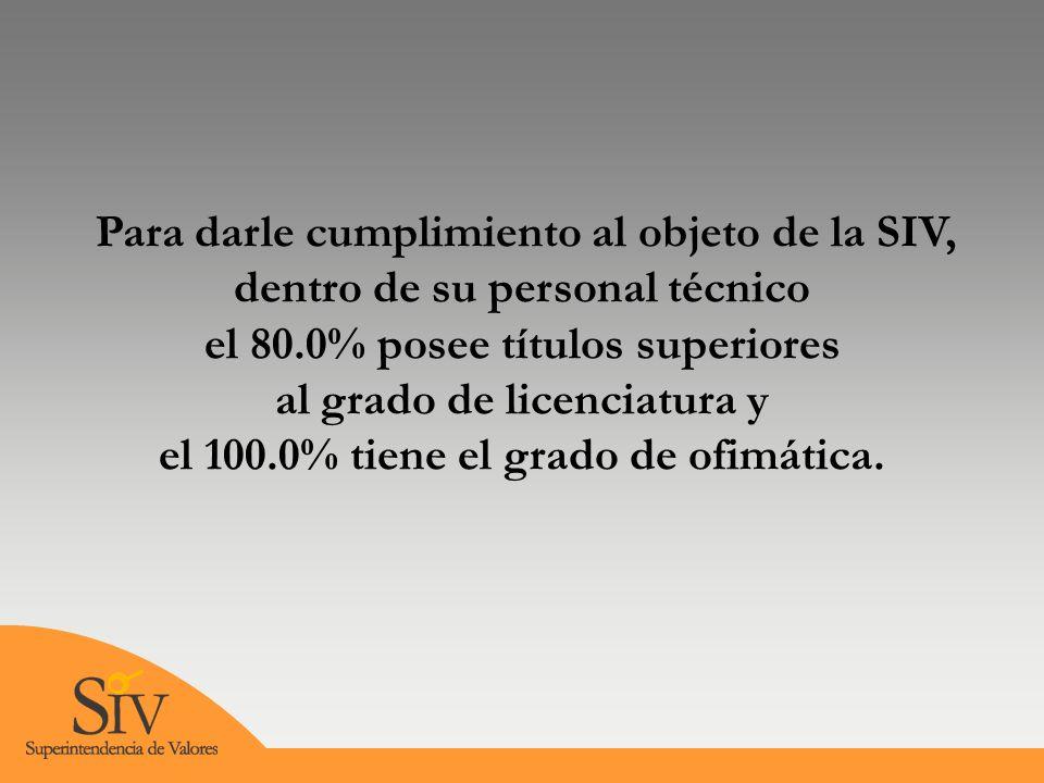 Para darle cumplimiento al objeto de la SIV, dentro de su personal técnico el 80.0% posee títulos superiores al grado de licenciatura y el 100.0% tiene el grado de ofimática.