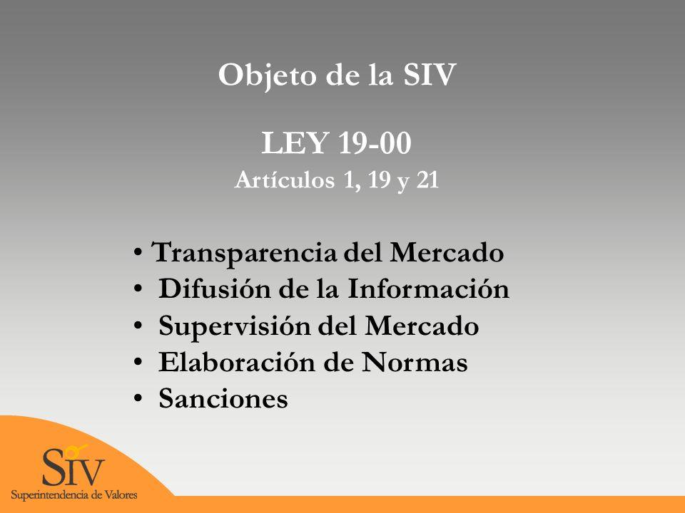 Objeto de la SIV LEY 19-00 Artículos 1, 19 y 21 Transparencia del Mercado Difusión de la Información Supervisión del Mercado Elaboración de Normas Sanciones