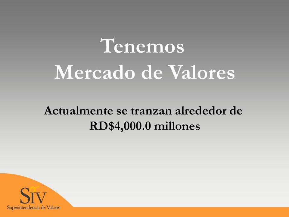Tenemos Mercado de Valores Actualmente se tranzan alrededor de RD$4,000.0 millones
