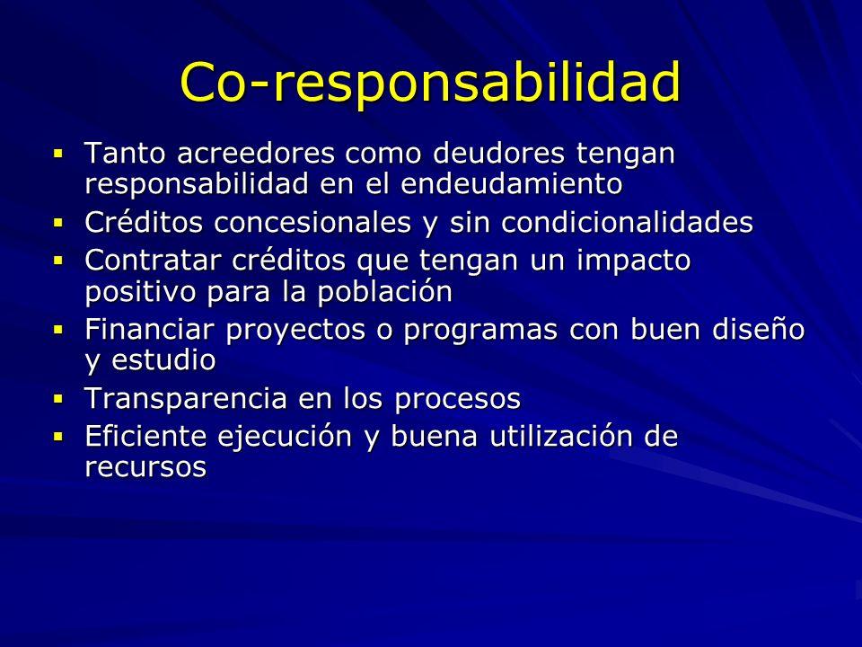 Co-responsabilidad Tanto acreedores como deudores tengan responsabilidad en el endeudamiento Tanto acreedores como deudores tengan responsabilidad en