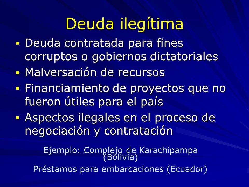 Deuda ilegítima Deuda contratada para fines corruptos o gobiernos dictatoriales Deuda contratada para fines corruptos o gobiernos dictatoriales Malver